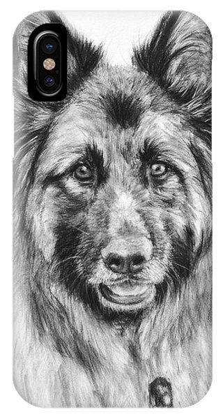 Drawing Of A Long-haired German Shepherd IPhone Case