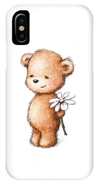 Baby Blue iPhone Case - Drawing Of Teddy Bear With Daisy by Anna Abramska