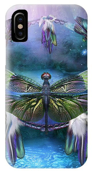 Print iPhone Case - Dream Catcher - Spirit Of The Dragonfly by Carol Cavalaris