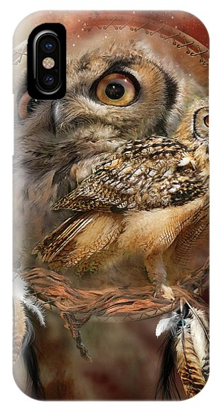 The iPhone Case - Dream Catcher - Spirit Of The Owl by Carol Cavalaris