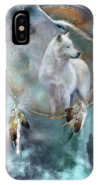 Print iPhone Case - Dream Catcher - Spirit Of The White Wolf by Carol Cavalaris