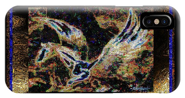 IPhone Case featuring the mixed media Dream Of The Horse With Painted Wings  by Aberjhani