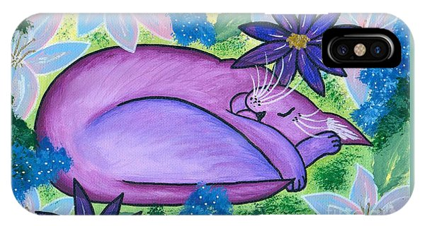 Dreaming Sleeping Purple Cat IPhone Case