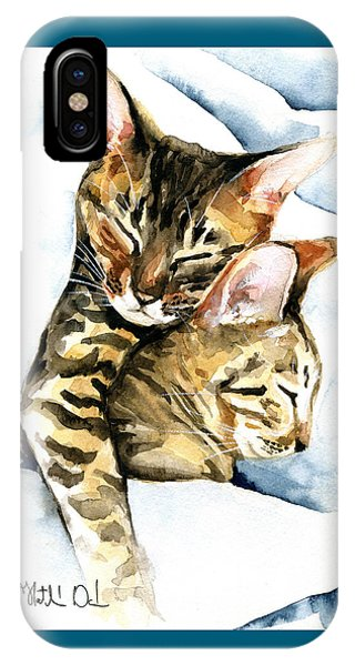 Dreamland - Bengal And Savannah Cat Painting IPhone Case