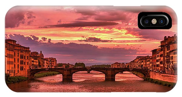 Saint Trinity Bridge From Ponte Vecchio At Red Sunset In Florence, Italy IPhone Case