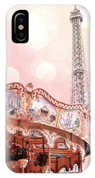 Carousel iPhone Case - Eiffel Tower Carousel Merry Go Round - Paris Baby Girl Nursery Decor  by Kathy Fornal