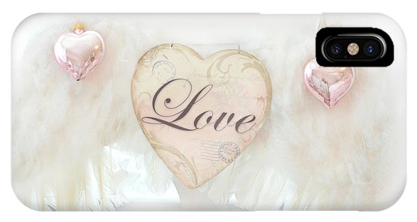Dreamy Ethereal White Angel Wings Romantic Love Heart - Valentine Love Heart Pink White Angel Wings  IPhone Case
