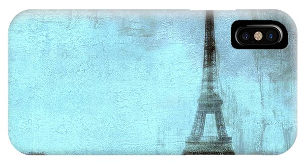 Teal iPhone Case - Dreamy Paris Eiffel Tower Aqua Teal Sky Blue Abstract  by Kathy Fornal