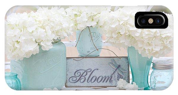 White Hydrangeas Cottage Decor- Shabby Chic White Hydrangeas In Aqua Blue Teal Mason Ball Jars IPhone Case