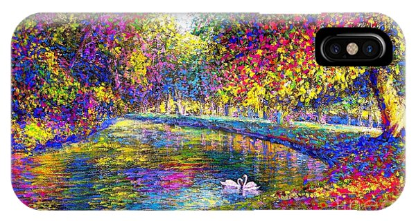 Drifting Beauties, Swans, Colorful Modern Impressionism IPhone Case