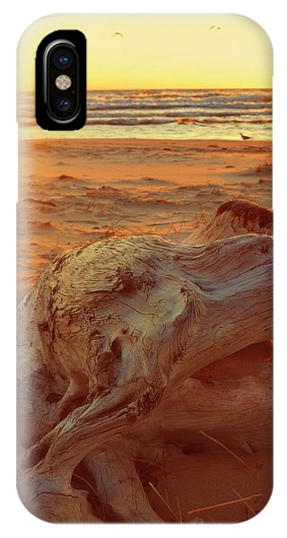 IPhone Case featuring the photograph Driftwood At Sunset by Michelle Calkins