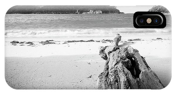 IPhone Case featuring the photograph Driftwood On Beach Black And White by Tim Hester