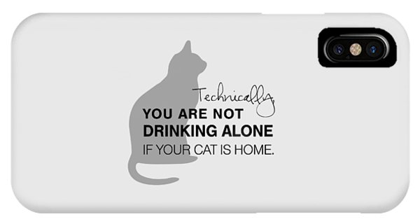 Cat iPhone X Case - Drinking With Cats by Nancy Ingersoll