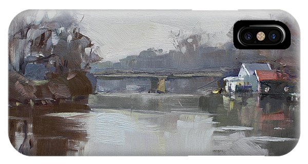 Waterscape iPhone Case - Drizzling At Tonawanda Canal  by Ylli Haruni