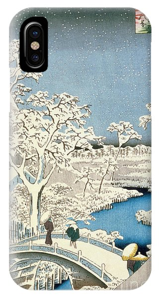 Drum iPhone Case - Drum Bridge And Setting Sun Hill At Meguro by Hiroshige