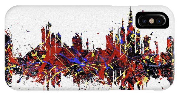 IPhone Case featuring the painting Dubai Colorful Skyline by Dan Sproul