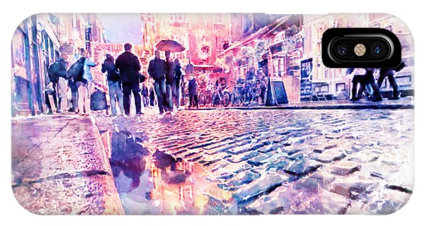 Rainy Day iPhone Case - Dublin Watercolor Streetscape by Marian Voicu