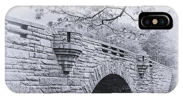 Duck Brook Bridge In Black And White IPhone Case