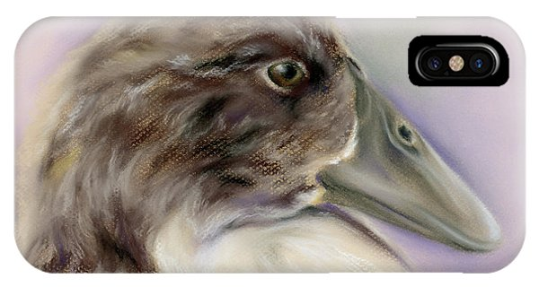IPhone Case featuring the pastel Duck Portrait In Gray And Brown by MM Anderson