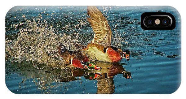 Assisted Living iPhone Case - Duck Racing, Wood Ducks by Flying Z Photography by Zayne Diamond