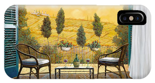 IPhone Case featuring the painting due bicchieri di Chianti by Guido Borelli