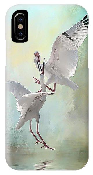 Duelling White Ibises IPhone Case