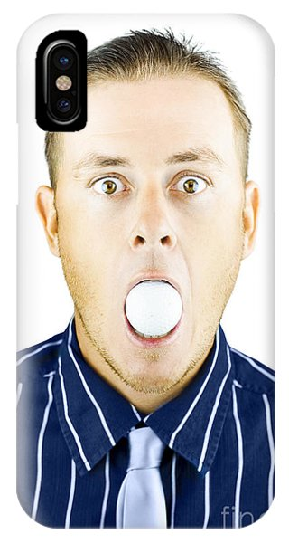 Eye Ball iPhone Case - Dumbfounded Man Silenced By A Golf Ball by Jorgo Photography - Wall Art Gallery