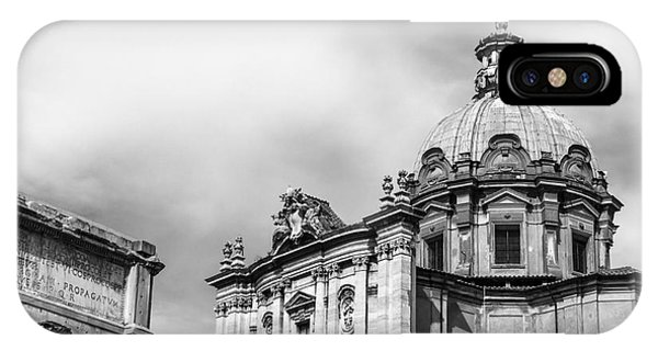 Duomo Of Santi Luca E Martina And Arch Of Septimius Severus  IPhone Case