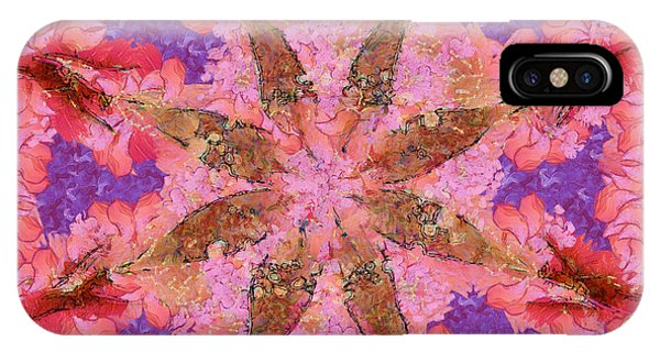 Atomic Tangerine iPhone Case - Duplexer Leafless Flowers  Id 16163-220041-23060 by S Lurk