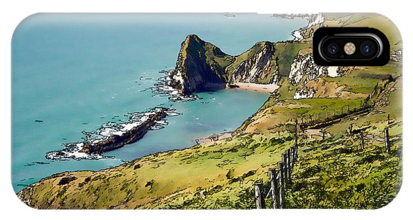 Dorset iPhone Case - Durdle Door Coast Dorset From South West Coast Path Unique Illustration Like Cartoon  by Michael Charles