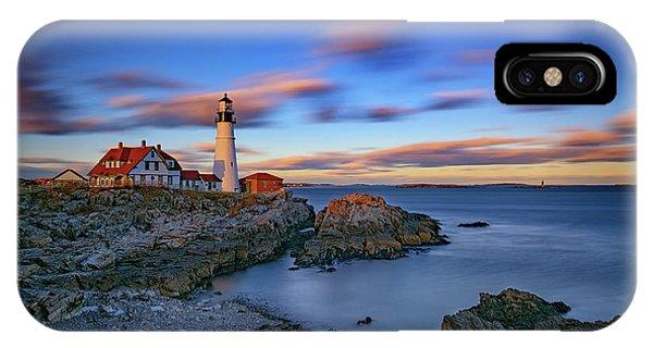 Navigation iPhone Case - Dusk At Portland Head Lighthouse by Rick Berk