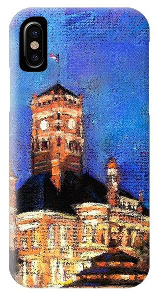 Courthouse iPhone Case - Dusk At The Courthouse Square by Shelley Schoenherr