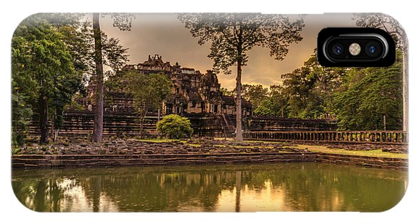 Cambodia iPhone Case - Dusk Light Preah Khan Temple Reflection by Mike Reid