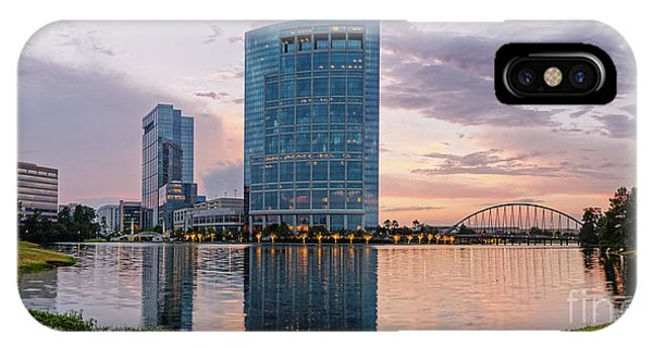 Dusk Panorama Of The Woodlands Waterway And Anadarko Petroleum Towers - The Woodlands Texas IPhone Case