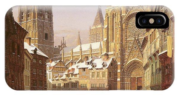 Sled Dog iPhone Case - Dutch Cathedral Town by Heinrich Hansen