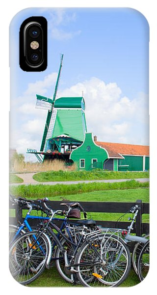 dutch windmills with bikes in Zaanse Schans IPhone Case