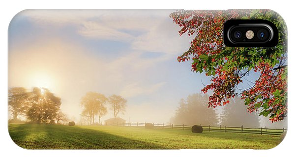 New England Barn iPhone Case - Early Autumn Fog by Bill Wakeley
