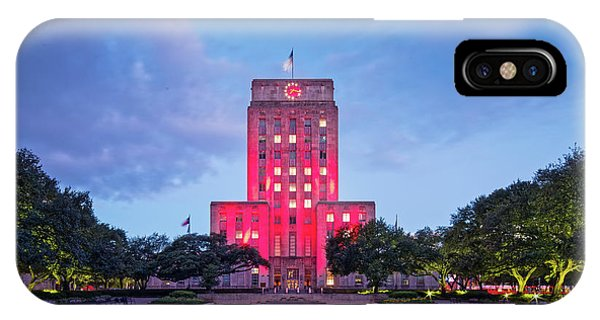 Early Dawn Architectural Photograph Of Houston City Hall And Hermann Square - Downtown Houston Texas IPhone Case