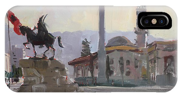 Monument iPhone Case - Early Morning In Tirana by Ylli Haruni