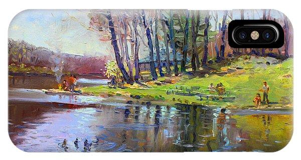 Lake iPhone Case - Early Spring In Bear Mountain by Ylli Haruni