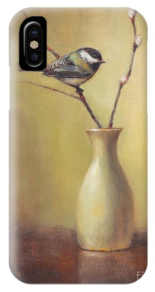 Chickadee iPhone Case - Early Spring Still Life by Lori McNee