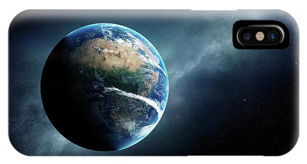 Planets iPhone Case - Earth And Moon Space View by Johan Swanepoel