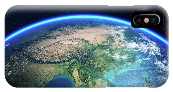 Dark Blue iPhone Case - Earth From Space Asia View by Johan Swanepoel