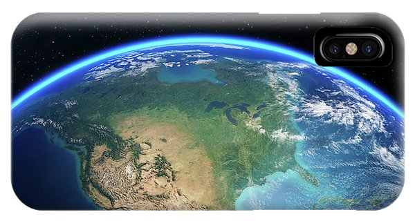 Dark Blue iPhone Case - Earth From Space North America by Johan Swanepoel