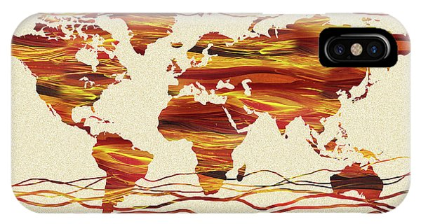 Earthy iPhone Case - Earthy Lines World Map Abstract by Irina Sztukowski