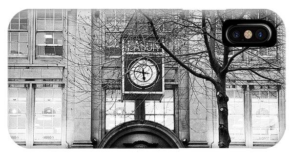 St. Patricks Day iPhone Case - eason clock on eason building in oconnell street lit green for st patricks day Dublin Republic of Ir by Joe Fox