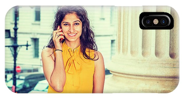 East Indian Woman Calling Outside IPhone Case
