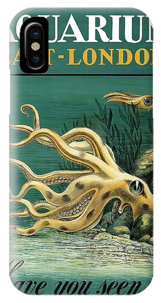Reef iPhone Case - East London Aquarium Octopus Vintage World Travel Poster by Retro Graphics