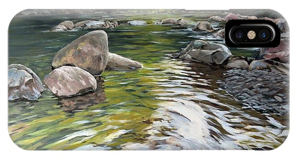 IPhone Case featuring the painting East Okement River by Lawrence Dyer