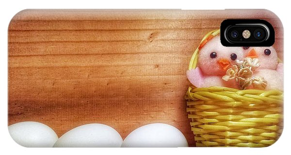 Easter Basket Of Pink Chicks With Eggs IPhone Case
